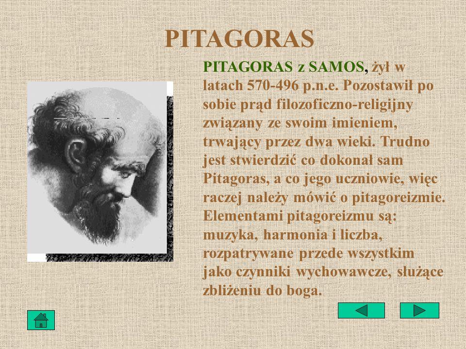 SPIS TREŚCI 1.PitagorasPitagoras 2.Trójkąt prostokątnyTrójkąt prostokątny 3.Twierdzenie PitagorasaTwierdzenie Pitagorasa 4.Dowody tw.PitagorasaDowody