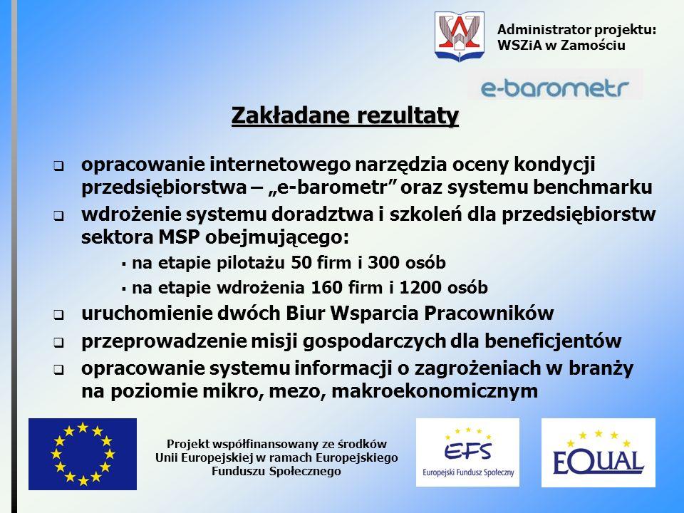 Administrator projektu: WSZiA w Zamościu Projekt współfinansowany ze środków Unii Europejskiej w ramach Europejskiego Funduszu Społecznego Zakładane r