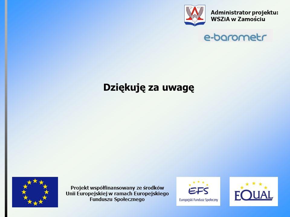 Dziękuję za uwagę Administrator projektu: WSZiA w Zamościu Projekt współfinansowany ze środków Unii Europejskiej w ramach Europejskiego Funduszu Społe