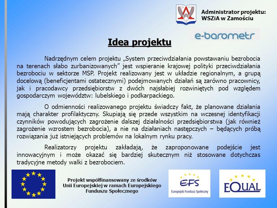 Administrator projektu: WSZiA w Zamościu Projekt współfinansowany ze środków Unii Europejskiej w ramach Europejskiego Funduszu Społecznego Idea projek