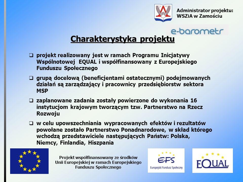 Administrator projektu: WSZiA w Zamościu Projekt współfinansowany ze środków Unii Europejskiej w ramach Europejskiego Funduszu Społecznego Charakterys
