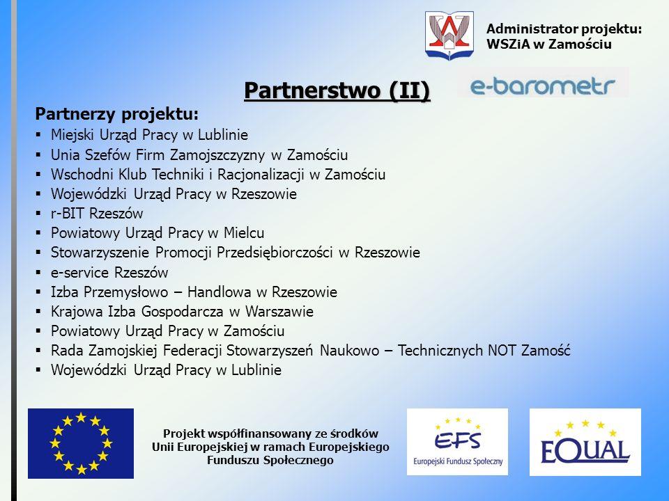 Administrator projektu: WSZiA w Zamościu Projekt współfinansowany ze środków Unii Europejskiej w ramach Europejskiego Funduszu Społecznego Partnerstwo