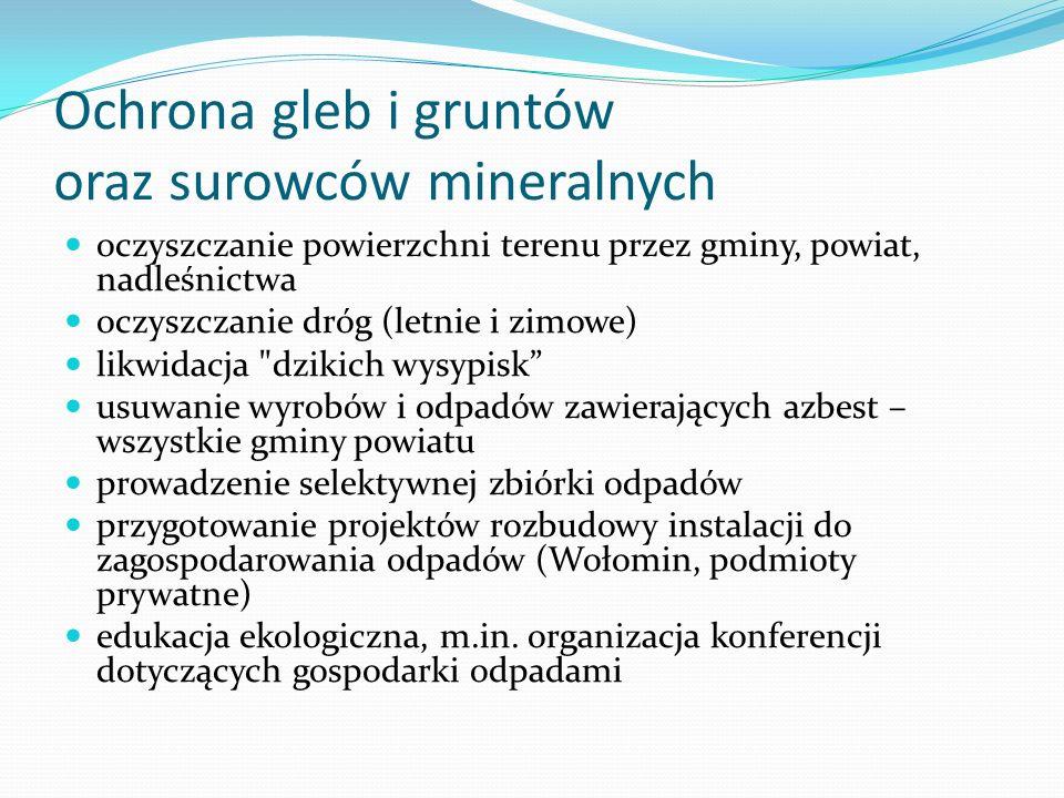 Ochrona gleb i gruntów oraz surowców mineralnych oczyszczanie powierzchni terenu przez gminy, powiat, nadleśnictwa oczyszczanie dróg (letnie i zimowe)