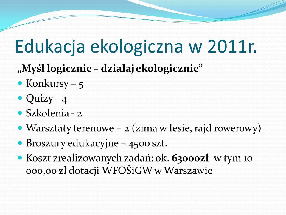 Edukacja ekologiczna w 2011r. Myśl logicznie – działaj ekologicznie Konkursy – 5 Quizy - 4 Szkolenia - 2 Warsztaty terenowe – 2 (zima w lesie, rajd ro