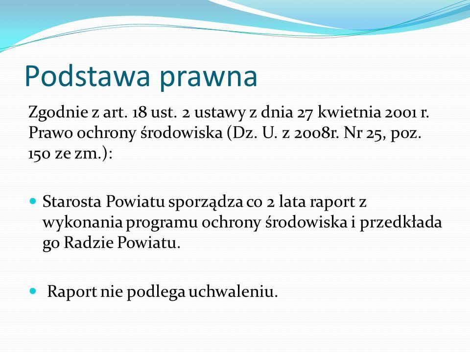 Podstawa prawna Zgodnie z art. 18 ust. 2 ustawy z dnia 27 kwietnia 2001 r. Prawo ochrony środowiska (Dz. U. z 2008r. Nr 25, poz. 150 ze zm.): Starosta