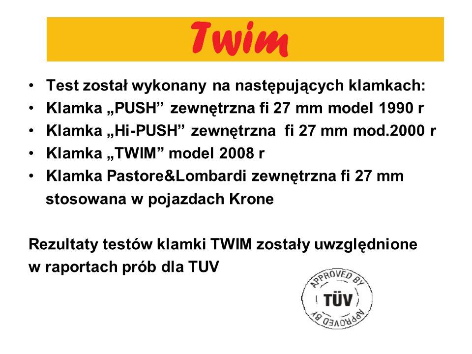 Test został wykonany na następujących klamkach: Klamka PUSH zewnętrzna fi 27 mm model 1990 r Klamka Hi-PUSH zewnętrzna fi 27 mm mod.2000 r Klamka TWIM