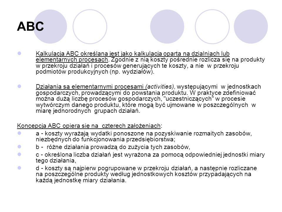 ABC Kalkulacja ABC określana jest jako kalkulacja oparta na dzialniach lub elementarnych procesach. Zgodnie z nią koszty pośrednie rozlicza się na pro