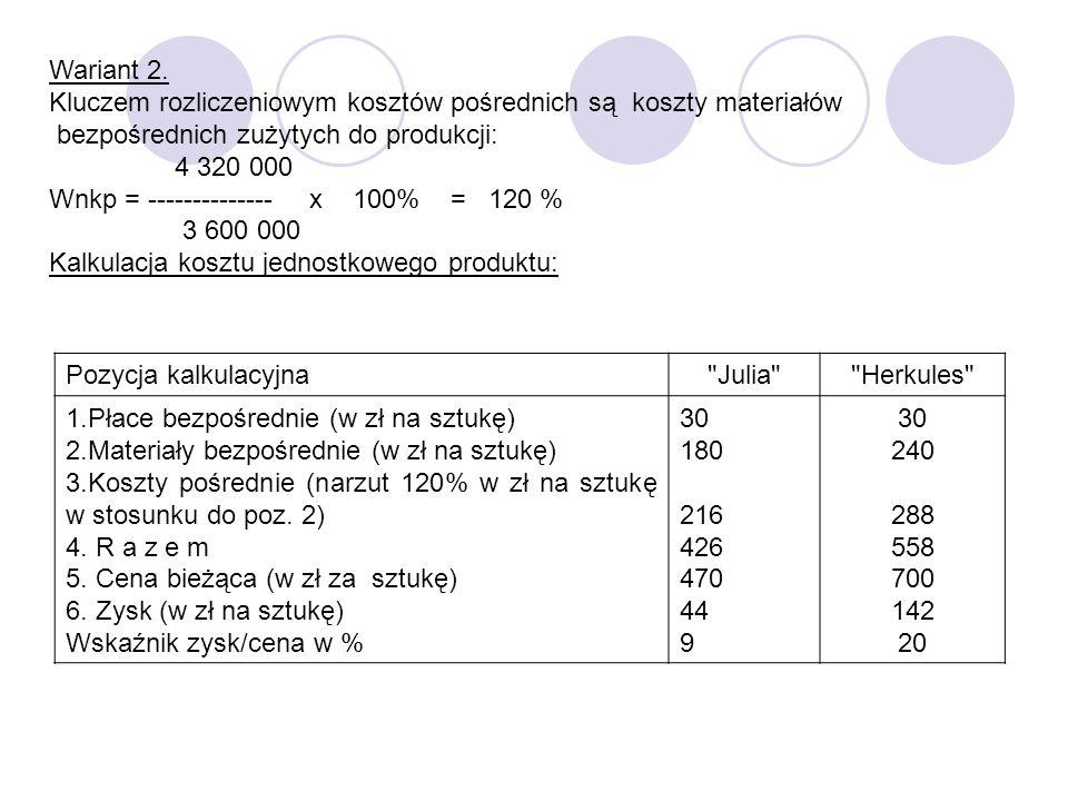 Wariant 2. Kluczem rozliczeniowym kosztów pośrednich są koszty materiałów bezpośrednich zużytych do produkcji: 4 320 000 Wnkp = -------------- x 100%