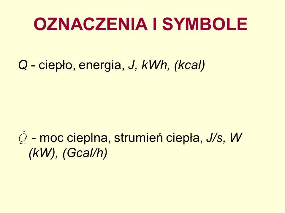 OZNACZENIA I SYMBOLE Q - ciepło, energia, J, kWh, (kcal) - moc cieplna, strumień ciepła, J/s, W (kW), (Gcal/h)