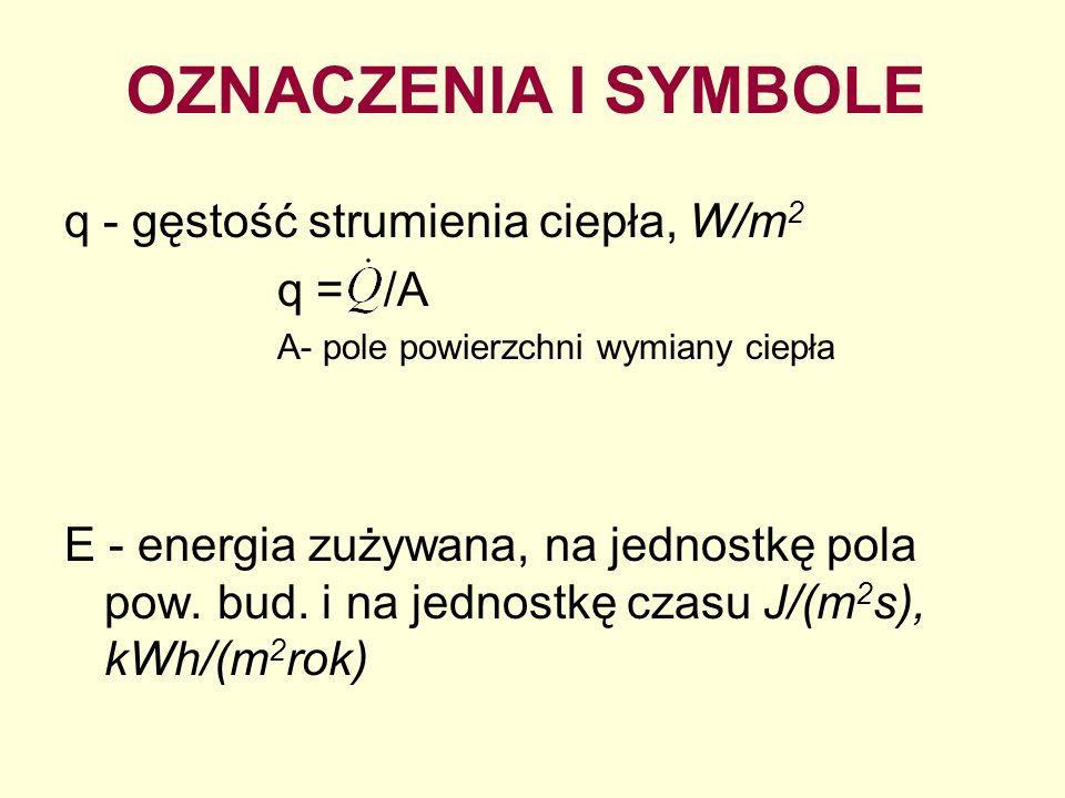 q - gęstość strumienia ciepła, W/m 2 q = /A A- pole powierzchni wymiany ciepła E - energia zużywana, na jednostkę pola pow. bud. i na jednostkę czasu