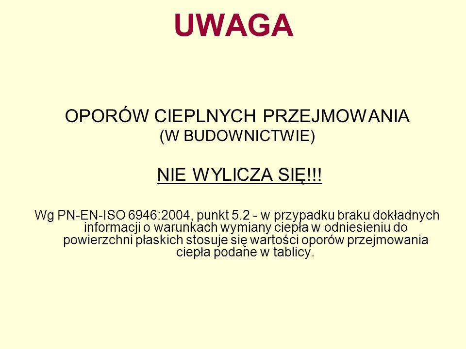 UWAGA OPORÓW CIEPLNYCH PRZEJMOWANIA (W BUDOWNICTWIE) NIE WYLICZA SIĘ!!! Wg PN-EN-ISO 6946:2004, punkt 5.2 - w przypadku braku dokładnych informacji o