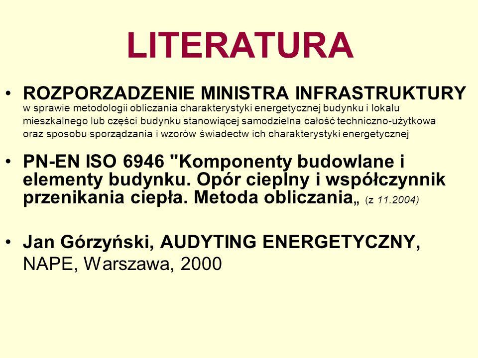 LITERATURA ROZPORZADZENIE MINISTRA INFRASTRUKTURY w sprawie metodologii obliczania charakterystyki energetycznej budynku i lokalu mieszkalnego lub czę
