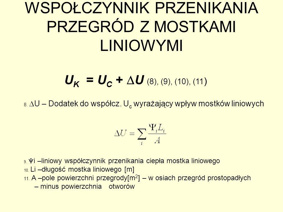 WSPOŁCZYNNIK PRZENIKANIA PRZEGRÓD Z MOSTKAMI LINIOWYMI U K = U C + U (8), (9), (10), (11 ) 8. U – Dodatek do współcz. U c wyrażający wpływ mostków lin