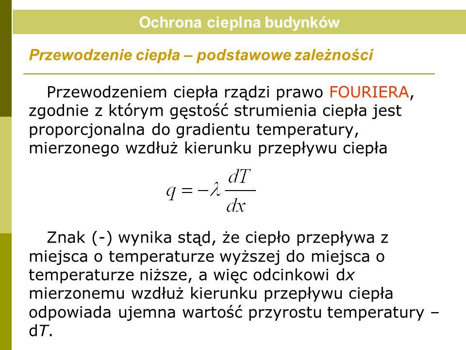 Przewodzeniem ciepła rządzi prawo FOURIERA, zgodnie z którym gęstość strumienia ciepła jest proporcjonalna do gradientu temperatury, mierzonego wzdłuż