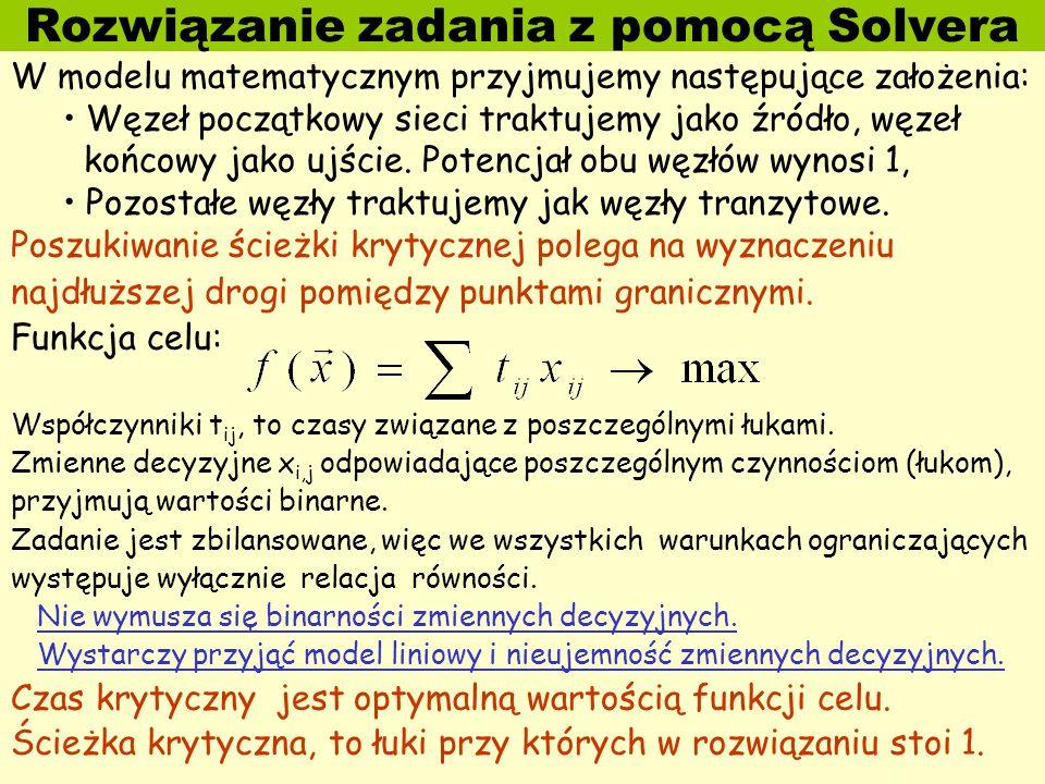 Rozwiązanie zadania z pomocą Solvera W modelu matematycznym przyjmujemy następujące założenia: Węzeł początkowy sieci traktujemy jako źródło, węzeł ko