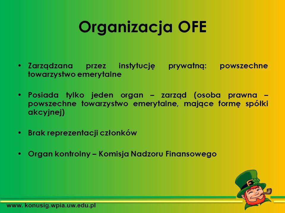 Organizacja OFE Zarządzana przez instytucję prywatną: powszechne towarzystwo emerytalne Posiada tylko jeden organ – zarząd (osoba prawna – powszechne