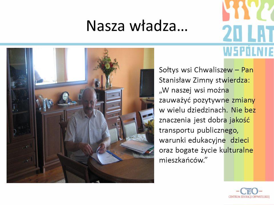 Nasza władza… Sołtys wsi Chwaliszew – Pan Stanisław Zimny stwierdza: W naszej wsi można zauważyć pozytywne zmiany w wielu dziedzinach. Nie bez znaczen