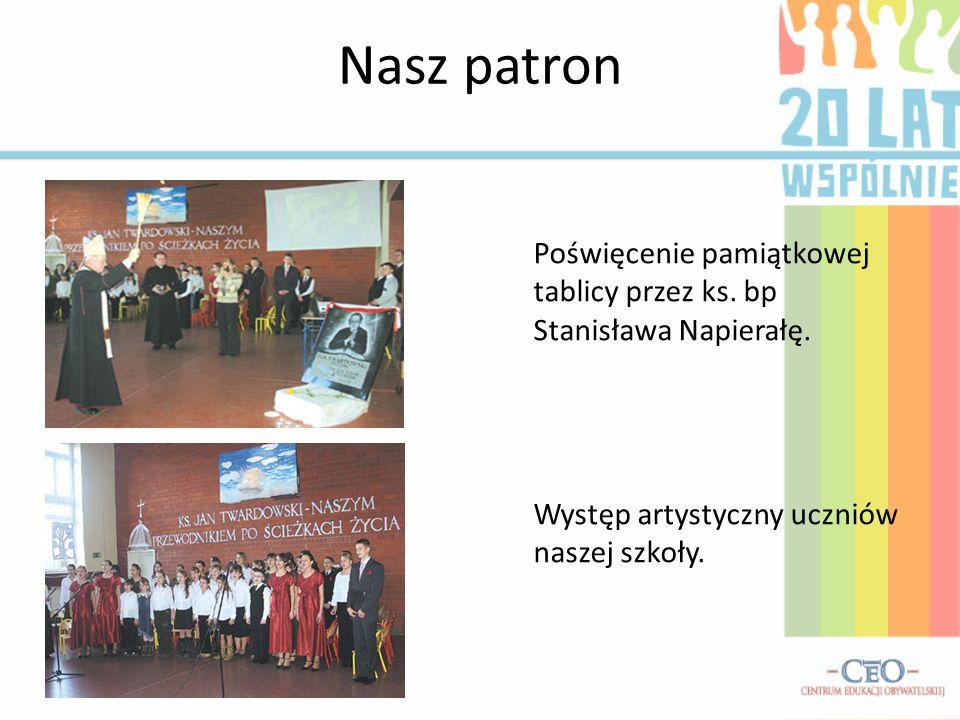 Nasz patron Poświęcenie pamiątkowej tablicy przez ks. bp Stanisława Napierałę. Występ artystyczny uczniów naszej szkoły.