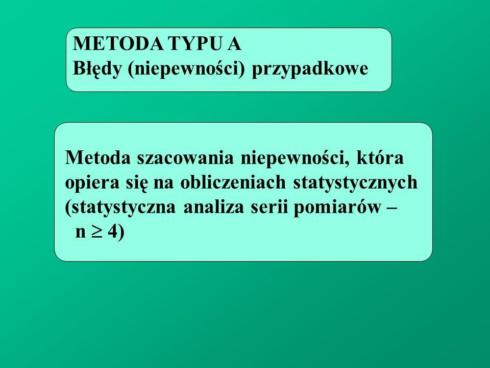 METODA TYPU A Błędy (niepewności) przypadkowe Metoda szacowania niepewności, która opiera się na obliczeniach statystycznych (statystyczna analiza ser