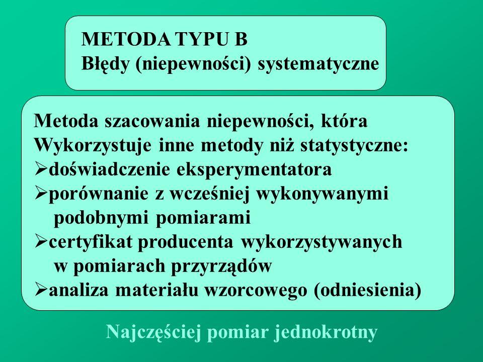 Najczęściej pomiar jednokrotny METODA TYPU B Błędy (niepewności) systematyczne Metoda szacowania niepewności, która Wykorzystuje inne metody niż staty