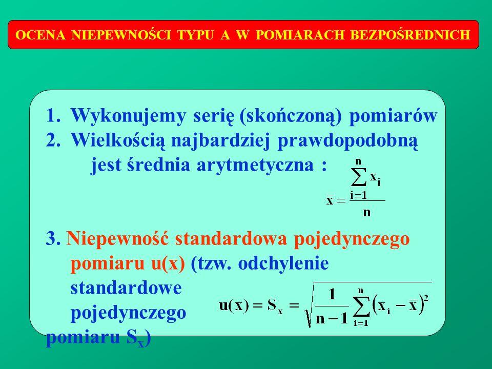 OCENA NIEPEWNOŚCI TYPU A W POMIARACH BEZPOŚREDNICH 1.Wykonujemy serię (skończoną) pomiarów 2.Wielkością najbardziej prawdopodobną jest średnia arytmet