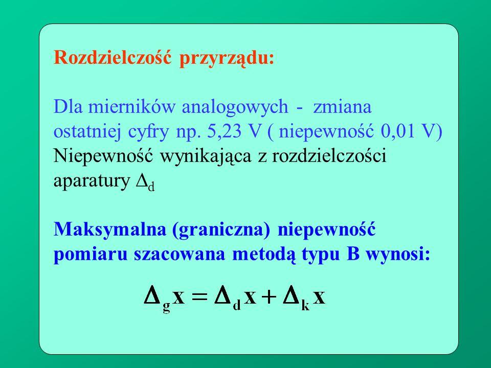 Rozdzielczość przyrządu: Dla mierników analogowych - zmiana ostatniej cyfry np. 5,23 V ( niepewność 0,01 V) Niepewność wynikająca z rozdzielczości apa
