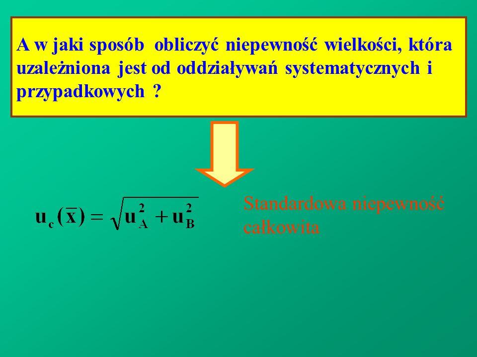 A w jaki sposób obliczyć niepewność wielkości, która uzależniona jest od oddziaływań systematycznych i przypadkowych ? Standardowa niepewność całkowit
