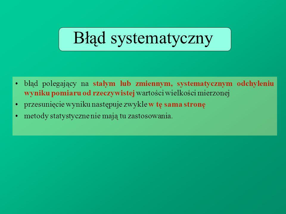 Błąd systematyczny błąd polegający na stałym lub zmiennym, systematycznym odchyleniu wyniku pomiaru od rzeczywistej wartości wielkości mierzonej przes