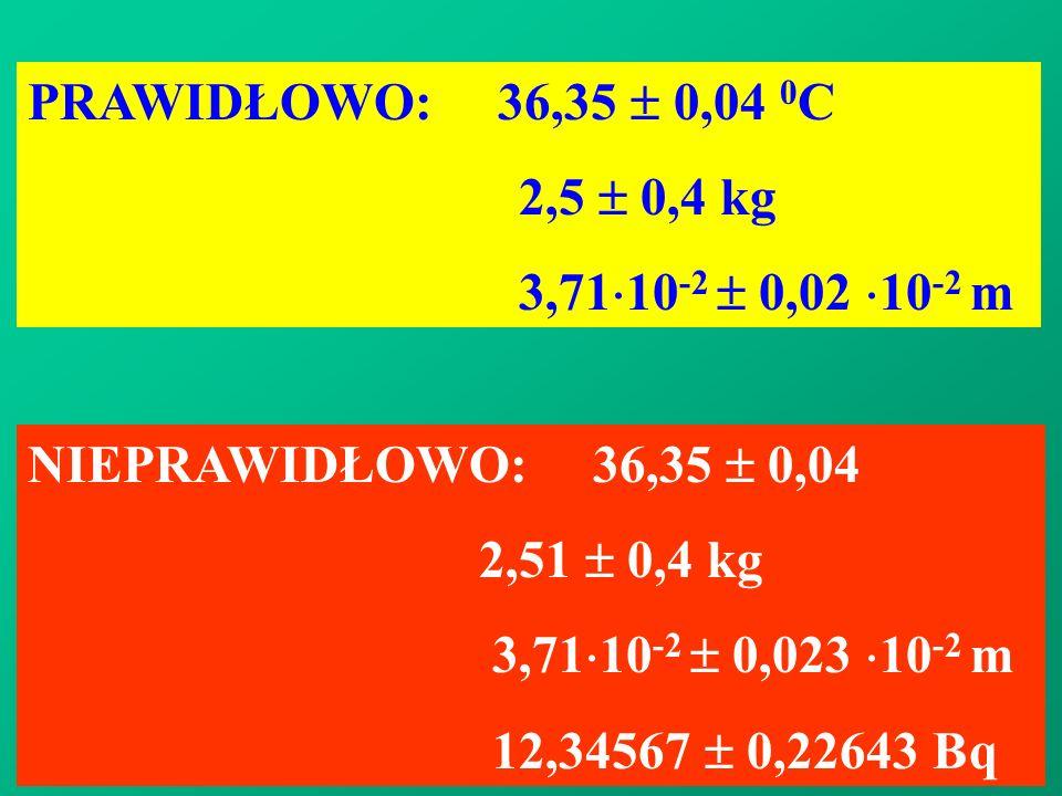 PRAWIDŁOWO: 36,35 0,04 0 C 2,5 0,4 kg 3,71 10 -2 0,02 10 -2 m NIEPRAWIDŁOWO: 36,35 0,04 2,51 0,4 kg 3,71 10 -2 0,023 10 -2 m 12,34567 0,22643 Bq