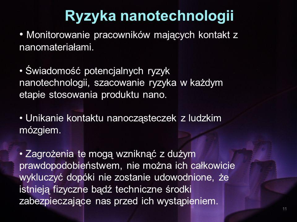 Ryzyka nanotechnologii Monitorowanie pracowników mających kontakt z nanomateriałami. Świadomość potencjalnych ryzyk nanotechnologii, szacowanie ryzyka