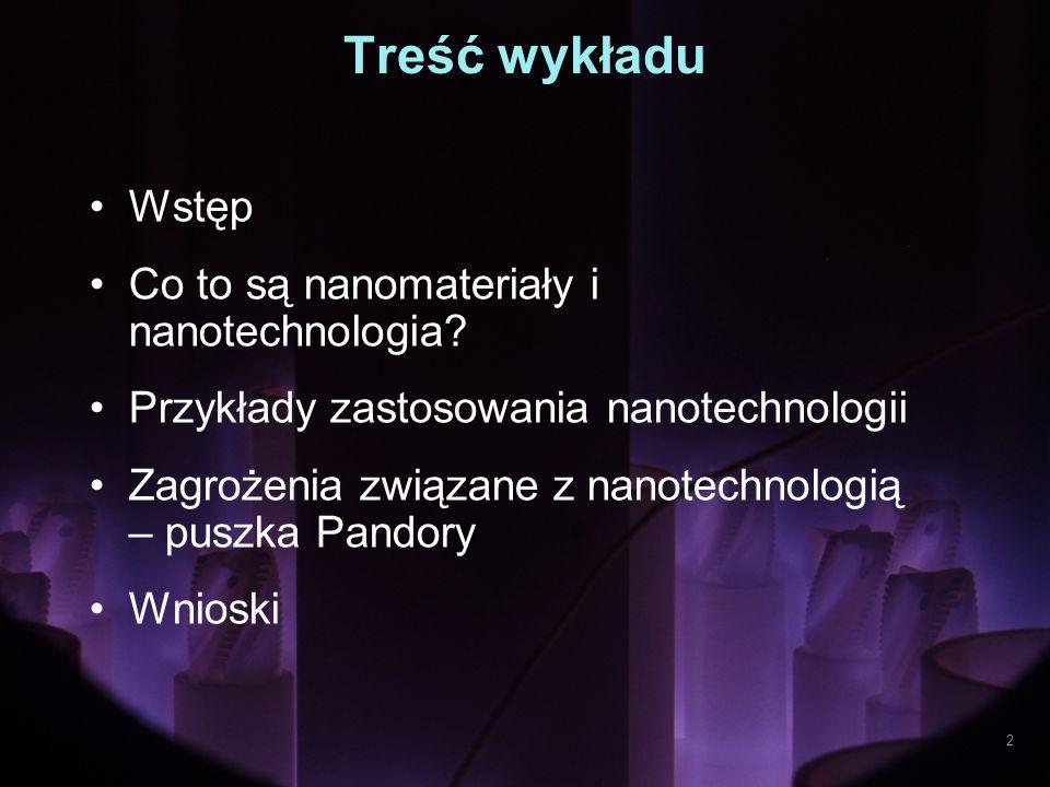 Treść wykładu Wstęp Co to są nanomateriały i nanotechnologia? Przykłady zastosowania nanotechnologii Zagrożenia związane z nanotechnologią – puszka Pa