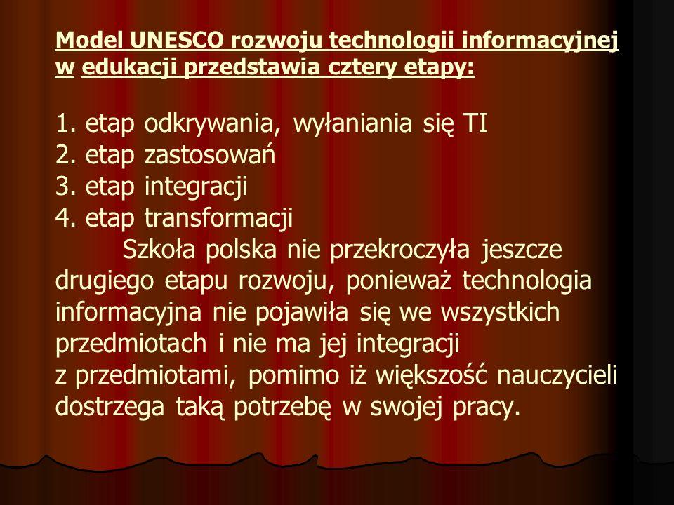 Model UNESCO rozwoju technologii informacyjnej w edukacji przedstawia cztery etapy: 1. etap odkrywania, wyłaniania się TI 2. etap zastosowań 3. etap i