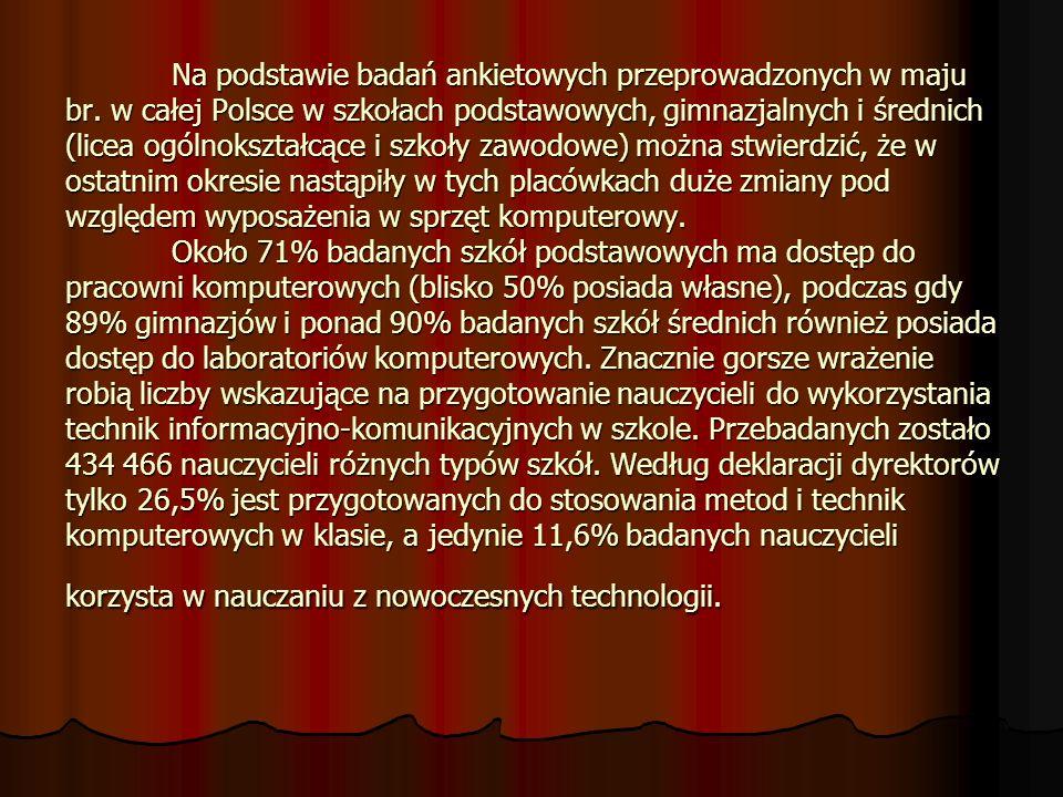 Na podstawie badań ankietowych przeprowadzonych w maju br. w całej Polsce w szkołach podstawowych, gimnazjalnych i średnich (licea ogólnokształcące i