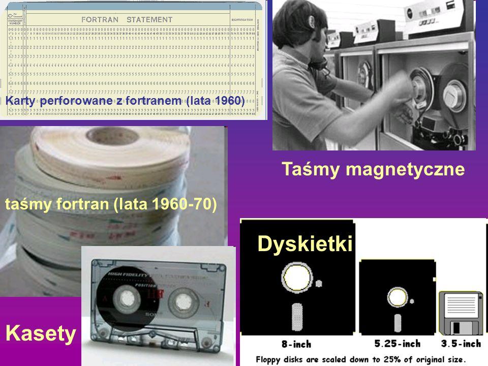 Karty perforowane z fortranem (lata 1960) taśmy fortran (lata 1960-70) Taśmy magnetyczne Dyskietki Kasety