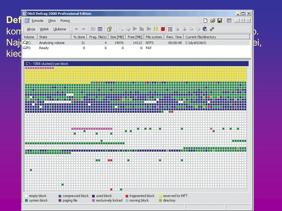 Defragmentacja - to operacje układające pliki na dysku komputerowym tak, aby system miał do nich szybszy dostęp. Najczęściej jest to poukładanie blokó