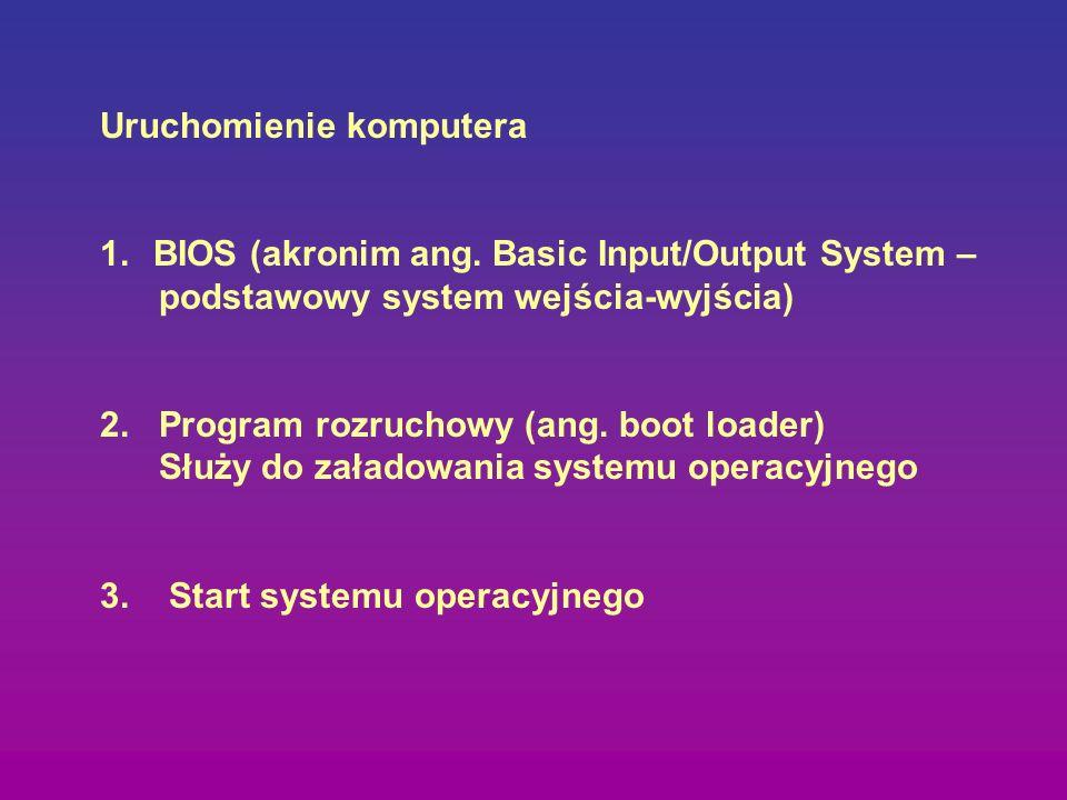 Uruchomienie komputera 1.BIOS (akronim ang. Basic Input/Output System – podstawowy system wejścia-wyjścia) 2. Program rozruchowy (ang. boot loader) Sł