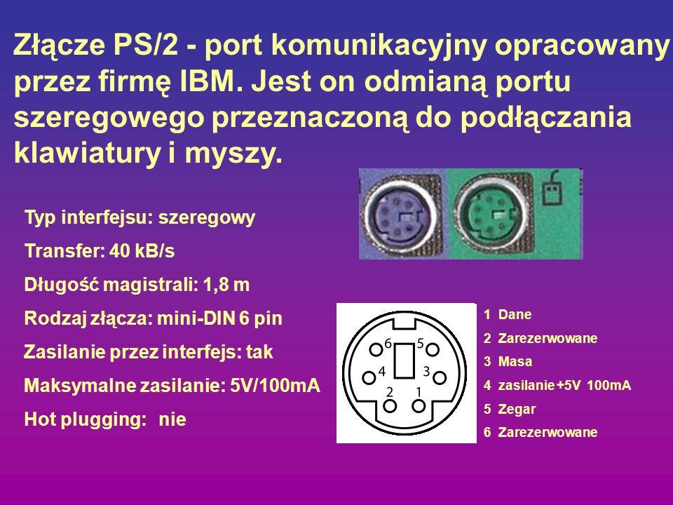 Złącze RS-232 jest magistralą komunikacyjną przeznaczoną do szeregowej transmisji danych najbardziej popularna wersja RS-232C pozwala na transfer na odległość nie przekraczającą 15 m z szybkością maksymalną 20 kbit/s w architekturze PC standardowo przewidziano istnienie 4 portów COM oznaczanych odpowiednio COM1-COM4.