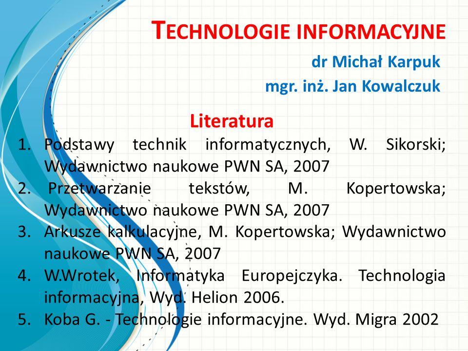 Plan wykładu Krótka historia rozwoju informatyki Podstawowe pojęcia informatyki Przedstawienie informacji Oprogramowanie dla przetwarzania informacji Technologii informacyjne w zastosowaniach ekonomicznych