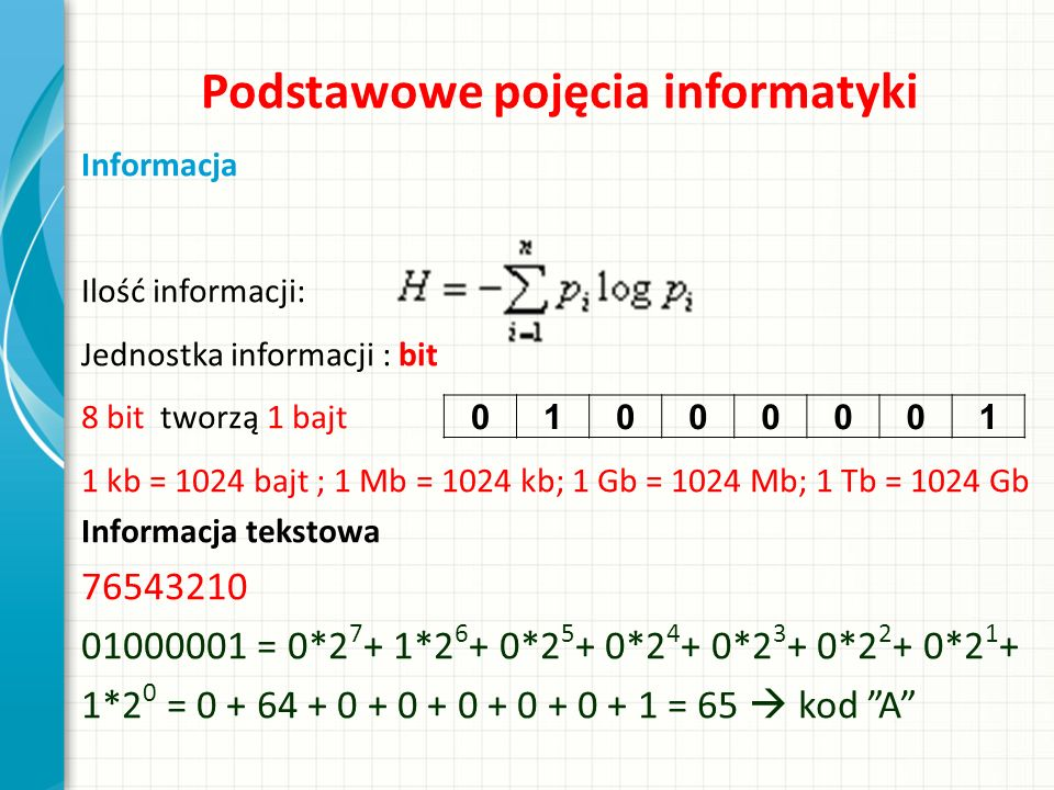 Podstawowe pojęcia informatyki Informacja Ilość informacji: Jednostka informacji : bit 8 bit tworzą 1 bajt 1 kb = 1024 bajt ; 1 Mb = 1024 kb; 1 Gb = 1