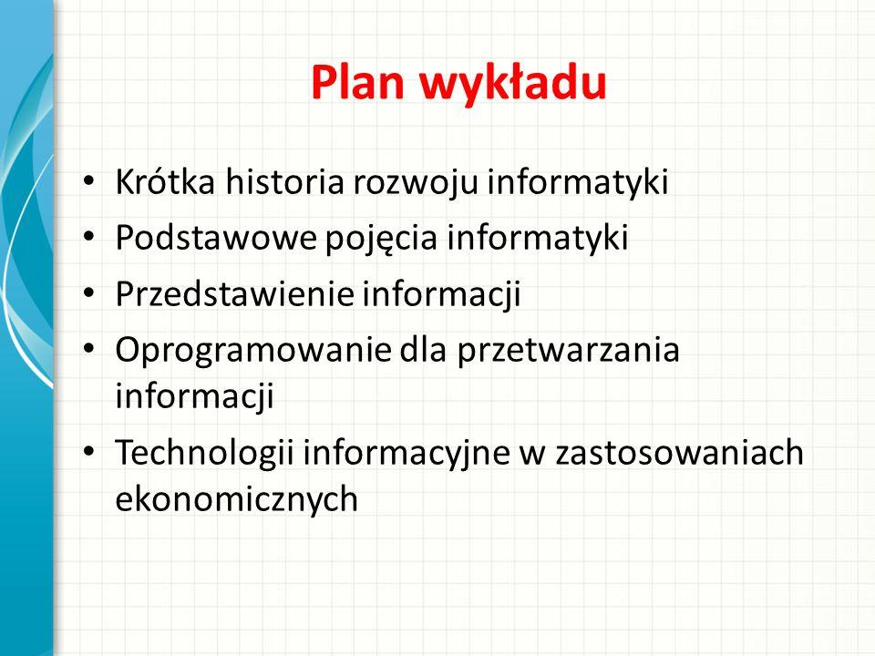 Plan wykładu Krótka historia rozwoju informatyki Podstawowe pojęcia informatyki Przedstawienie informacji Oprogramowanie dla przetwarzania informacji