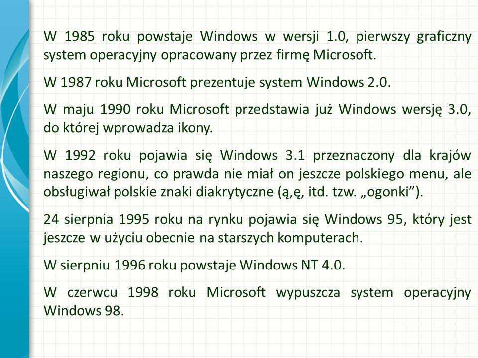 W 1985 roku powstaje Windows w wersji 1.0, pierwszy graficzny system operacyjny opracowany przez firmę Microsoft. W 1987 roku Microsoft prezentuje sys