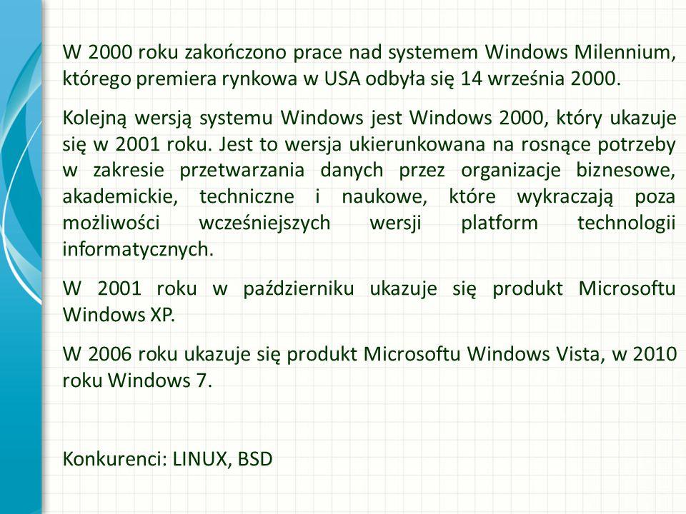 W 2000 roku zakończono prace nad systemem Windows Milennium, którego premiera rynkowa w USA odbyła się 14 września 2000. Kolejną wersją systemu Window