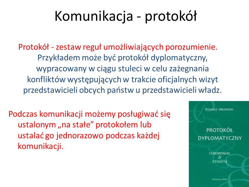 Komunikacja - protokół Protokół - zestaw reguł umożliwiających porozumienie. Przykładem może być protokół dyplomatyczny, wypracowany w ciągu stuleci w