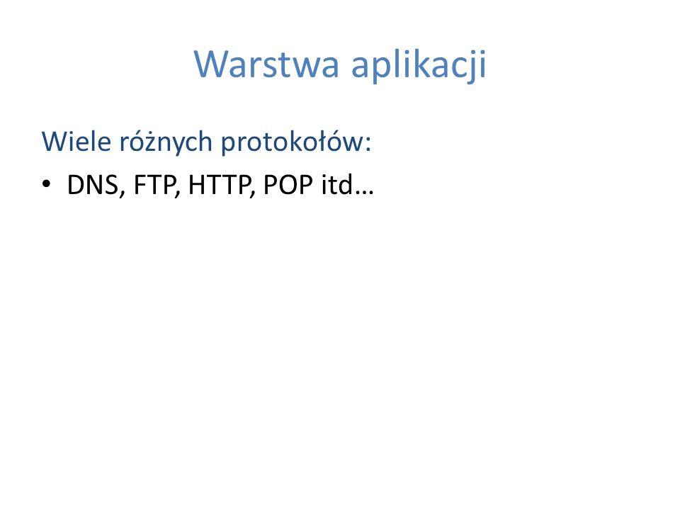 Warstwa aplikacji Wiele różnych protokołów: DNS, FTP, HTTP, POP itd…