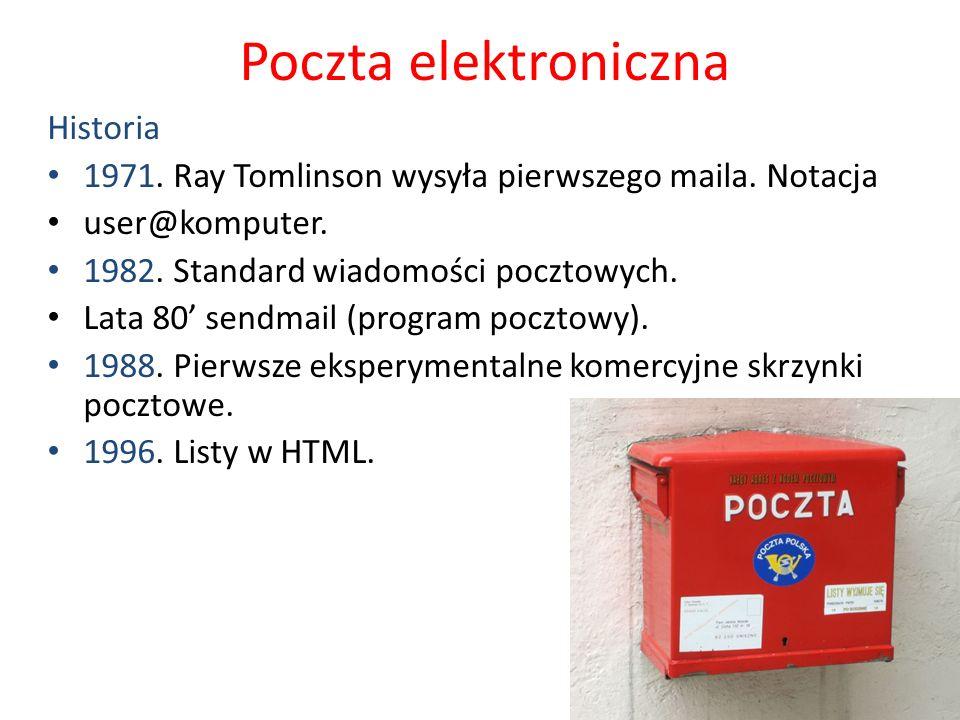 Poczta elektroniczna Historia 1971. Ray Tomlinson wysyła pierwszego maila. Notacja user@komputer. 1982. Standard wiadomości pocztowych. Lata 80 sendma
