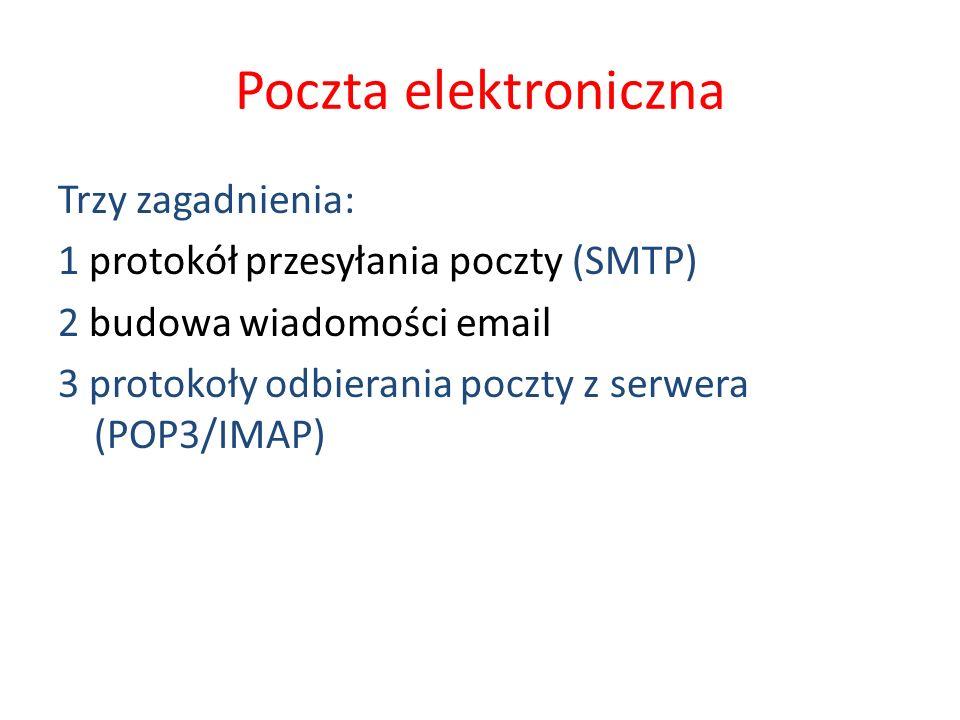 Poczta elektroniczna Trzy zagadnienia: 1 protokół przesyłania poczty (SMTP) 2 budowa wiadomości email 3 protokoły odbierania poczty z serwera (POP3/IM