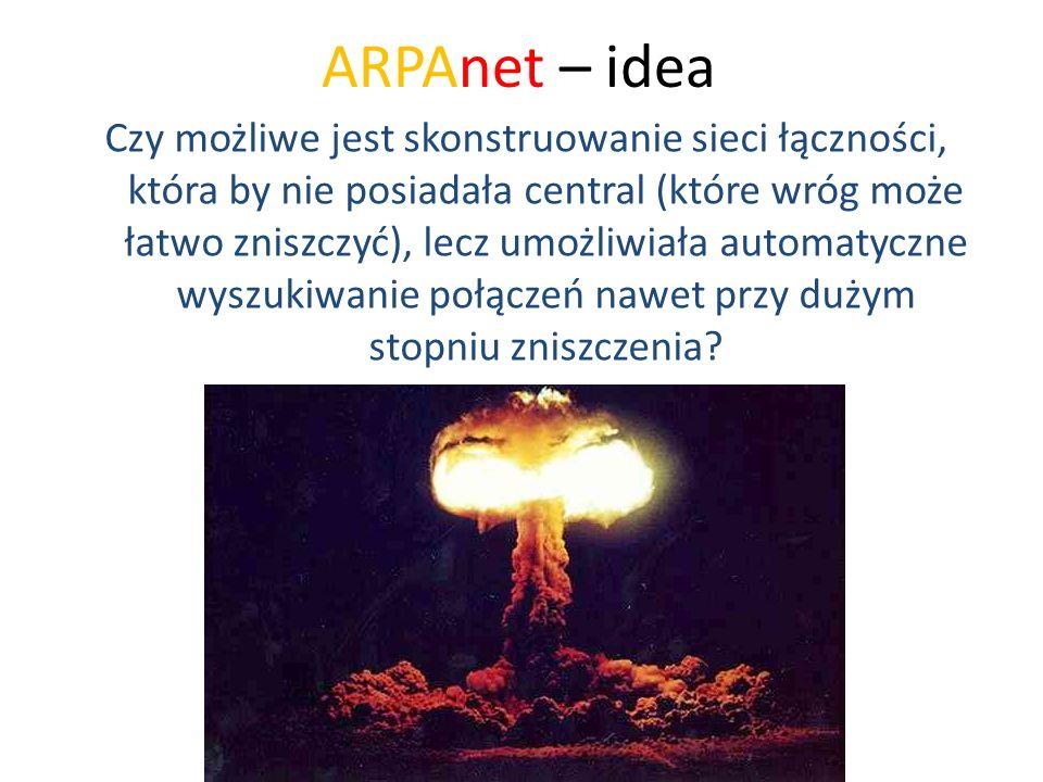 ARPAnet – idea Czy możliwe jest skonstruowanie sieci łączności, która by nie posiadała central (które wróg może łatwo zniszczyć), lecz umożliwiała aut