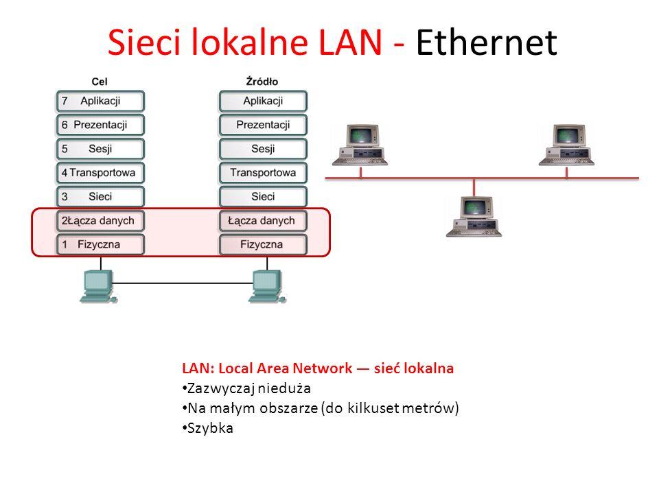 Sieci lokalne LAN - Ethernet LAN: Local Area Network sieć lokalna Zazwyczaj nieduża Na małym obszarze (do kilkuset metrów) Szybka