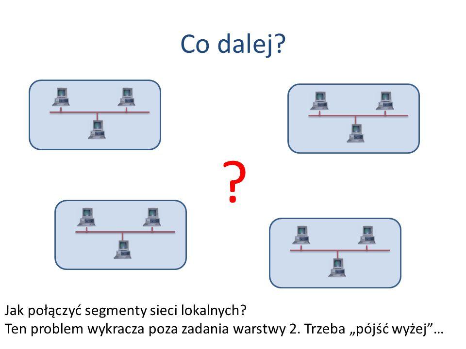 Co dalej? Jak połączyć segmenty sieci lokalnych? Ten problem wykracza poza zadania warstwy 2. Trzeba pójść wyżej… ?