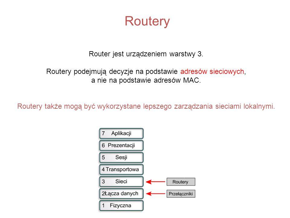 Routery Router jest urządzeniem warstwy 3. Routery podejmują decyzje na podstawie adresów sieciowych, a nie na podstawie adresów MAC. Routery także mo